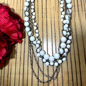 White Beaded Multichain Necklace